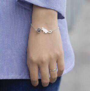 S925 Sterling Silver Moon Stone Cute Kitty Cat Fashion Jewelry Chain Bracelet UK