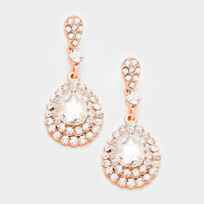 ROSE GOLD  /CLEAR    TEAR DROP   BRIDAL/PROM  ELEGANT  DANGLE EARRING  C  X   20
