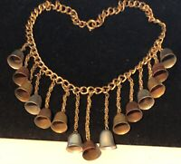 "Rare Vintage 16"" Unsigned Miriam Haskell 3"" TriTone Bell Dangle Bib Necklace A27"