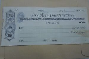 PALESTINE NABLUS BARCLAYS BANK  ( DOMINION , COLONIAL AND OVERSEAS ) RARE CHECK