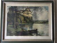"Luigi Kasimir Original Color Etching Print ""Persenbeug Castle, Austria"", Sign"