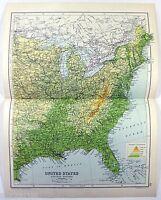 Original 1909 Physical Map of The Eastern USA by John Bartholomew. Antique