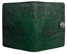 """Tree of Life Great Oak 5""""x7"""" Small Green Leather Journal by Oberon Design"""