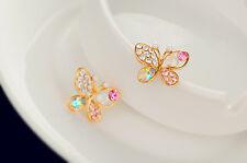 1pair Dainty Women Pearl Butterfly Crystal Gold Filled Ear Stud EAW Ings Beau WV