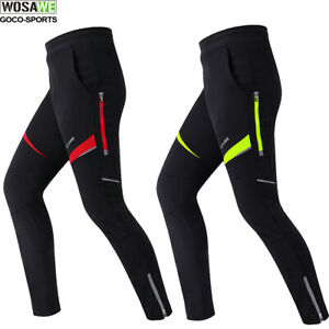 Mens Cycling Pants Thermal Long Tights Fleece Cold Wear Sport Windproof Legging