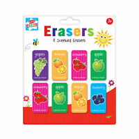 Pack 8 Childrens Fruit Scented Erasers Rubbers Back to School Party Bag Filler