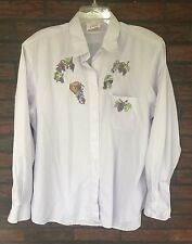 Tia Designs Long Sleeve Shirt Size Large Purple Grapes Rhinestones Shoulder Pads