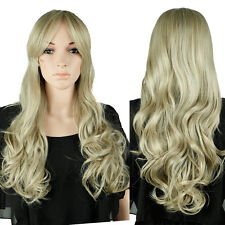 Mega Thick Long Ombre Pink Gray Full Wig Dip Dyeing Synthetic Wigs Cosplay Party