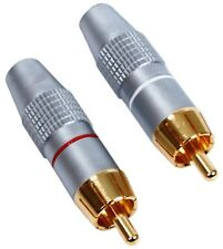 HQS-SCC002 HIGH END SHIELDED 24K GOLD PLATED RCA CINCH PLUGS ** NEW PAIR **