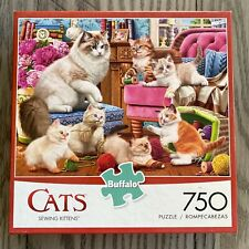 """Buffalo Games Cats Collection """"Sewing Kittens"""" 750 Piece Jigsaw Puzzle COMPLETE"""