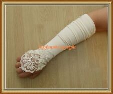 Satin WHITE FINGERLESS BRIDAL GLOVE,Lace pearls sequin