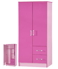 2 Door Wardrobe | 2 Drawers Combi | Pink High Gloss Two Tone | Bedroom Furniture