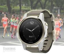 GARMIN Fenix 5S Watch Sapphire Goldtone Suede GPS HRM Sports Running Triathlon