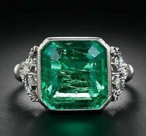 3Ct Asscher Cut Emerald Art Deco Women's Engagement Ring 14K White Gold Finish