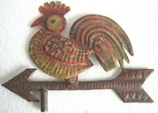 IRON ROOSTER EMBOSSED CUTOUT WEATHER VANE , DETAILED WEATHERVANE .