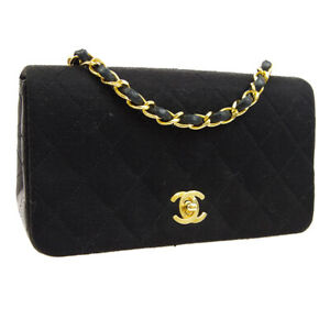 CHANEL Full Flap Quilted Chain Shoulder Bag 1362316 Purse Black Cotton AK38543d