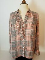 J. Jill Brown Salmon Houndstooth Collared Button-Front Blouse Long Sleeve Size S