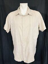 Linen Blend Shirt Men's XXL Short Sleeved Apt9 Pintuck Detailing
