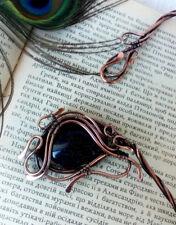 Copper choker Open collar necklace Blue Aventurine gemstone Wire wrapped jewelry