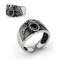 925 Sterling Silver Handmade Mens EAGLE Ring Jewelry with Natural Black Onyx