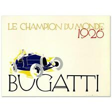 """Bugatti: Le Champion du Monde"""" Hand Pulled Lithograph by the RE Society"""