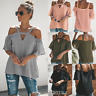 Womens Sexy Cold Off Shoulder Tops T Shirt V Neck Short Sleeve Summer Top Blouse