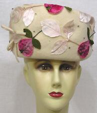 Vintage Ladies Hat Creamy Felt Fruit Appliques Tiny Rhinestones 1960s