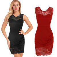 Women's Lace Bodycon Sleeveless Evening Party Cocktail Club Short Mini Dress