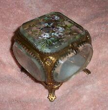 Antique Ormolu Beveled 5 Glass Jewelry Casket Box Painted Lid Original Bleu Silk