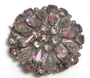 Victorian 1800'S Silver Filigree Gem Floral Brooch