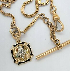 VINTAGE 10-12K GOLD AND DIAMOND MASONIC POCKET WATCH CHAIN AND FOB
