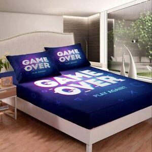 Gamer Printed 3Pcs Bed Sheet Set Deep Pocket Fitted Sheet Pillowcase US Size