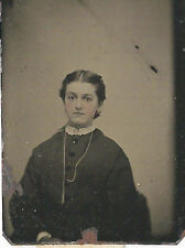 CIVIL WAR ERA TINTYPE INTERESTING LADY WITH NECKLACE