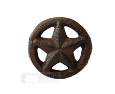 Rustic Texas Star with Ring Round Knobs Drawer Cabinet Pulls Western 2 inches