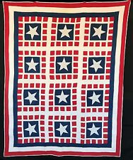 Antique 1900 Red White & Blue Star Quilt