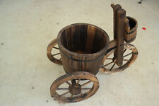 """2' Tricycle Style 3 Wheel Wooden Planter W 12"""" Round Plant Pot Burnt Wood Finish"""