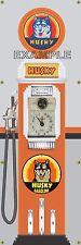 HUSKY STATION OLD TOKHEIM GAS PUMP CLOCKFACE BANNER SIGN MURAL GARAGE ART 2'X6'