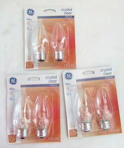 Lot of 6 - GE CLEAR 40w  Ceiling Fan Chandelier Light Bulb Medium Base Dimmable