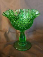 Fenton Art Glass LIME GREEN HOBNAIL Ruffled Footed Comport