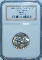 2004 D NGC MS65 Wisconsin WI Quarter Extra Leaf Low