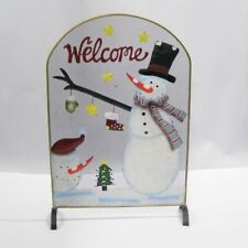 Premier 53cm Christmas Fireguard Snowman With Top Hat & Welcome Festive Screen