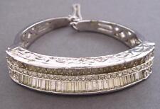 VTG Kramer Art Deco Baguette Rhinestone Silver Clamper Hinged Bangle Bracelet