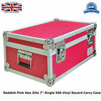 "1 x Reddish Pink Neo Zilla 7"" single 500 Vinyl Strong Record Flight Carry Case"