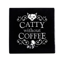 Alchemy England Cat Tea Coffee Ceramic Coaster (1) Pagan Kitchen Witch Gift