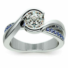 Beautiful, Unique Solitaire style, Sapphire with accents in .925 Silver size 6