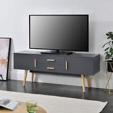 [en.casa] Fernsehtisch TV Lowboard Board Fernseher Schrank Unterschrank Grau