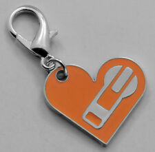 Lot 100  Zipper Pull Zip Puller Key Chain Ring Slider Heart Orange Metal Charm