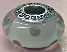 PANDORA | WHITE GREY POLKA DOTS GLASS MURANO CHARM 790602 *NEW* RETIRED RARE 925