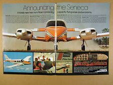 1971 Piper PA-34 Seneca 'Announcing' airplane flight deck photo vintage print Ad