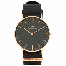 NEW DANIEL WELLINGTON Cornwall 36mm Rose Gold Classic Black Nylon Women's Watch